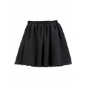 Fashion Women Chiffon Doubled Layer Shirred Waist Mini Short Skirt