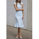 Round Neck Cap Sleeve Plain Chic Bodycon Midi Ruffle Hem Icon Dress