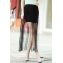 Fashion Women Pleated Mesh Layered See Through Ankle-length Skirt