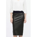 Fashion Women Elastic Waist Leather Tea-length Pencil Tube Skirt