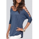 Fashion Women Cold Shoulder Round Neck 3/4 Sleeves Dolphin Hem Top