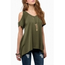 Women Hollow Out Casual Shirt Short Sleeve Off Shoulder Tunic Tops