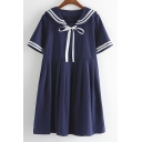 Sweet Summer Bows Front Striped Trim Loose Short Sleeve Cute Dress