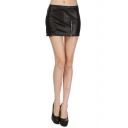Fashion Women Elastic Waist Zipper Leather Short Mini Skirt