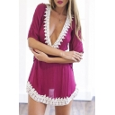 Sexy V-Neck Half Bell Sleeve Elastic Waist Lace Hem Mini Dress
