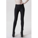 Fashion Women Elastic Waist Plain Side Zipper Leggings