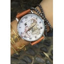 Fashion World Map Print Quartz Water Resistance Watch