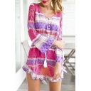 Colorful Scoop Neck Bell Sleeve Ruffle Hem Sexy Mini Dress