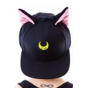 Kawaii Cute Cat Ears Embellish at Ears Outdoor Leisure Fashion Summer Baseball Caps Women Outdoor Caps