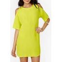 Round Neck Cut Out Shoulder Half Sleeve Plain Shift Dress