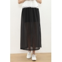 Fashion Women Elastic Waist Plain Mesh Side/Double Slit Ankle-length Skirt