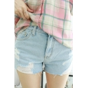 Fashion Women Distressed Frayed Hem Hot Pants Zipper Fly Denim Shorts