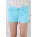 Fashion Women Basic Zipper Fly Perfect Fit Denim Shorts