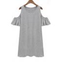 Ruffle Cut Out Sleeve Scoop Neck Cute Mini Dress