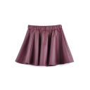 Fashion Women A-line Swing Shirred Waist Leather Like Short Mini Skirt