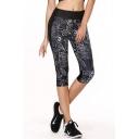 Fashion Women Elastic Waist Print Paneled Capri Yoga Sports Leggings