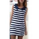 Lapel Striped Shift Mini Dress