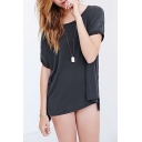Fashion Women Plain Round Neck Short Sleeve Loose Fit Top