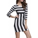 Chic Round Neck 3/4 Sleeve Striped Bodycon Mini Dress
