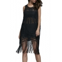 Sleeveless Round Neck Sheer Tassel Hem Sexy Midi Dress