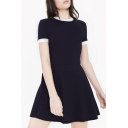Round Neck Short Sleeve Plain Skater Mini Dress