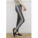 Fashion Women Elastic Waist Side Striped Sports Yoga Leggings