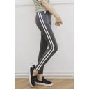 Fashion Women Elastic Waist Side Striped Sports Yoga Leggings