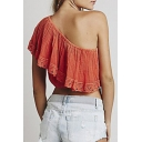 Fashion Women One Shoulder Gathered Trim Short Sleeve Crop Tee
