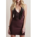 Plain Tassel Sleeveless Bodycon V-Neck Mini Dress
