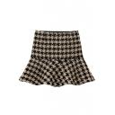 Fashion Women Zipper Fly Houndstooth Print Ruffled Hem Knitted Skirt