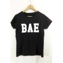 Short Sleeve Round Neck Letter Print Tee