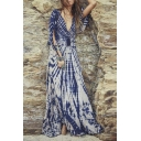 Special Style V-Neck Bell Sleeve Abstract Print A-Line Sexy Maxi Dress