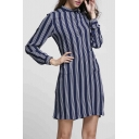 Stand Up Collar Button Front Striped Long Sleeve Shirt Dress Mini Shift Dress