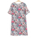 Round Neck Short Sleeve Floral Print Shift Dress