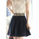 Fashion Women Plain Zipper Fly High Waist A-line Swing Skirt
