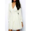 Plain V-Neck Long Sleeve Slim Fit A-Line Mini Dress