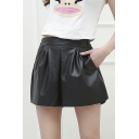 Fashion Women Gathered Waist Wide Fit Leather Short Culottes Shorts