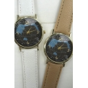 Vintage Leather World Map Quartz Watches