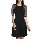 Simple Fashion Round Neck Lace Sheer Sleeve A-Line Mini Dress