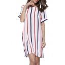 Casual Round Neck Short Sleeve Striped Mini Shift Dress