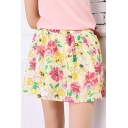 Fashion A-line Floral Print Gathered Waist Mini Skirt