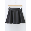 Fashion Women A-line Swing Leather Short Mini Skirt