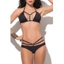 Sexy  Strappy Ring Detail Halter Top Bikini Set