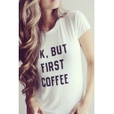 Round Neck Short Sleeve Letter Print T-Shirt