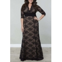 New Fashion Plus Size V-Neck Half Sleeve Lace A-Line Maxi Dress