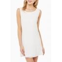Plain Round Neck Sleeveless Backless Dress