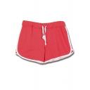Fashion Women Contrast Drawstring Dolphin Hem Sports Hot Pants Shorts
