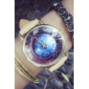 Galaxy Pattern Leather Quartz Water Resistance Watch