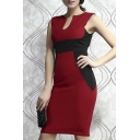 Deep V-Neck Color Block Sleeveless Bodycon Midi Dress