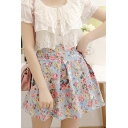 Fashion Women A-line Floral Inverted Pleated Swing Skater Skirt